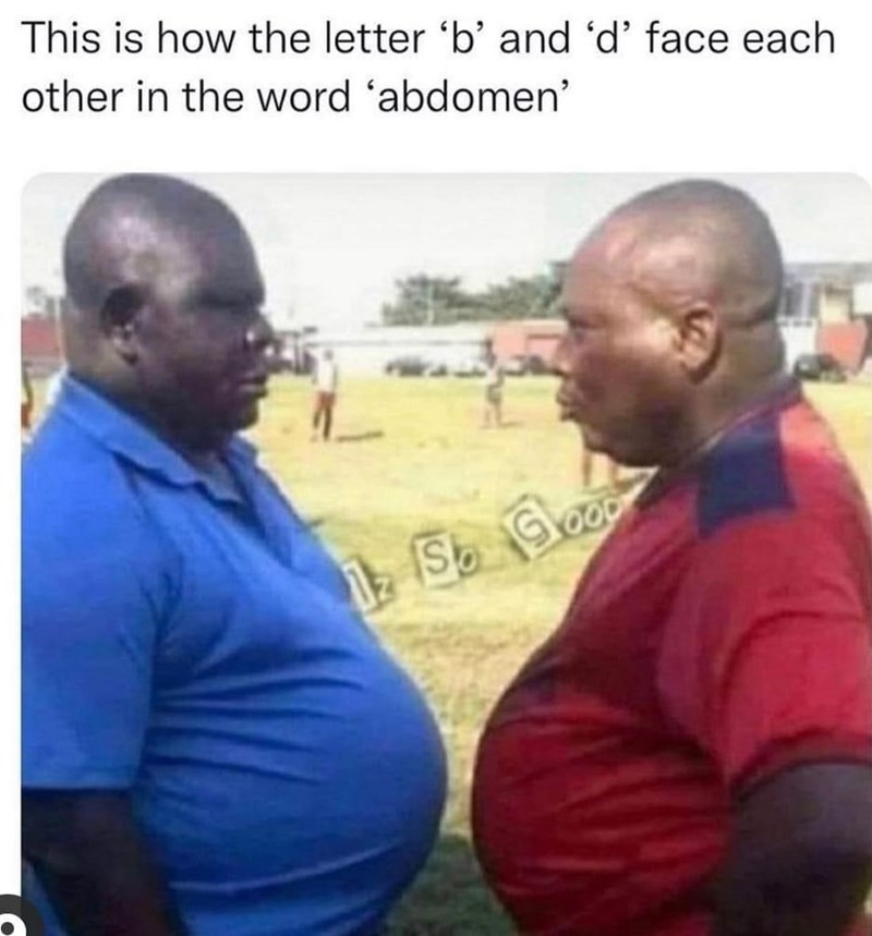 Muscle - This is how the letter 'b' and 'd' face each other in the word 'abdomen' S Glo OOD