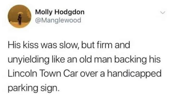 Font - Molly Hodgdon @Manglewood His kiss was slow, but firm and unyielding like an old man backing his Lincoln Town Car over a handicapped parking sign.