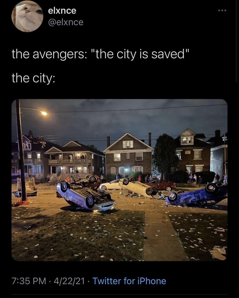 """Sky - elxnce @elxnce the avengers: """"the city is saved"""" the city: 7:35 PM · 4/22/21 · Twitter for iPhone"""