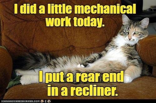 Cat - I did a little mechanical work today. Iput a rear end in a recliner. ICANHASCHEEZEURGER.COM