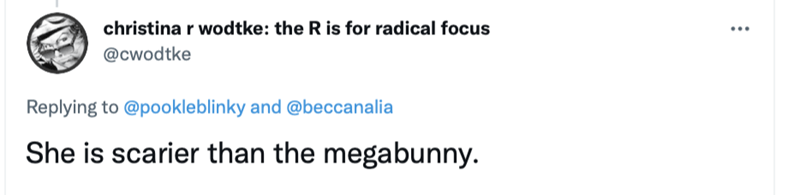 Human body - christina r wodtke: the R is for radical focus @cwodtke Replying to @pookleblinky and @beccanalia She is scarier than the megabunny.