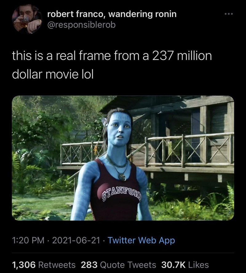 Plant - robert franco, wandering ronin @responsiblerob this is a real frame from a 237 million dollar movie lol GTANFOR 1:20 PM · 2021-06-21 · Twitter Web App 1,306 Retweets 283 Quote Tweets 30.7K Likes