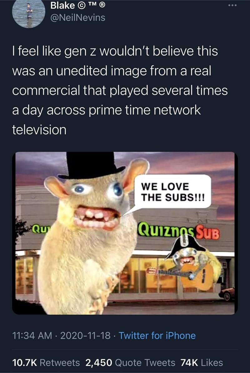 Vertebrate - Blake © TM @NeilNevins ... I feel like gen z wouldn't believe this was an unedited image from a real commercial that played several times a day across prime time network television WE LOVE THE SUBS!!! Quiznos SuB Qu 11:34 AM · 2020-11-18 · Twitter for iPhone 10.7K Retweets 2,450 Quote Tweets 74K Likes