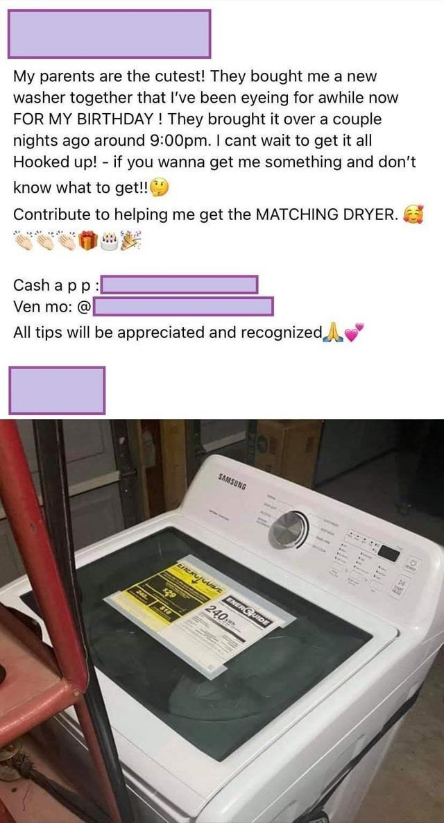 Product - My parents are the cutest! They bought me a new washer together that I've been eyeing for awhile now FOR MY BIRTHDAY ! They brought it over a couple nights ago around 9:00pm. I cant wait to get it all Hooked up! - if you wanna get me something and don't know what to get!! Contribute to helping me get the MATCHING DRYER. Cash a pp: Ven mo: @ All tips will be appreciated and recognized SAMSUNG ... EIERUJUUE ENERGUIDE 240 ST 240