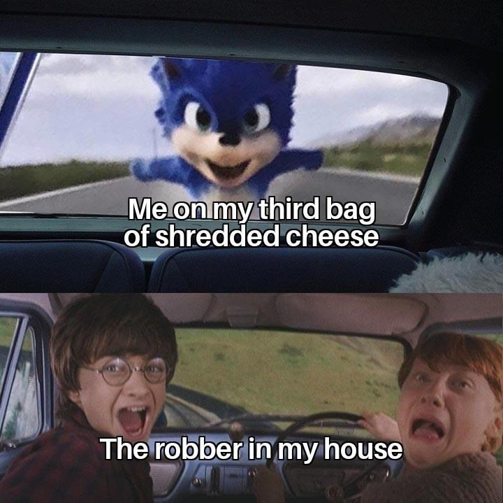 Head - Me on my third bag of shredded cheese The robber in my house