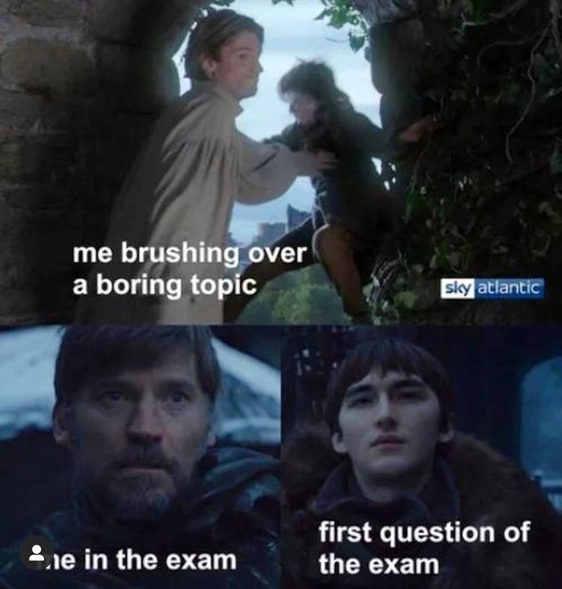 Head - me brushing over a boring topic sky atlantic first question of the exam 2ie in the exam