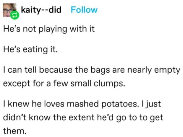 Font - kaity--did Follow He's not playing with it He's eating it. I can tell because the bags are nearly empty except for a few small clumps. I knew he loves mashed potatoes. I just didn't know the extent he'd go to to get them.