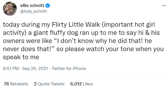 """Font - ellie schnitt ... @holy_schnitt today during my Flirty Little Walk (important hot girl activity) a giant fluffy dog ran up to me to say hi & his owners were like """"I don't know why he did that! he never does that!"""" so please watch your tone when you speak to me 9:51 PM - Sep 24, 2021 · Twitter for iPhone 76 Retweets 2 Quote Tweets 6,012 Likes"""