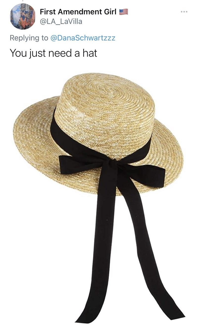 Hat - First Amendment Girl @LA_LaVilla Replying to @DanaSchwartzzz You just need a hat