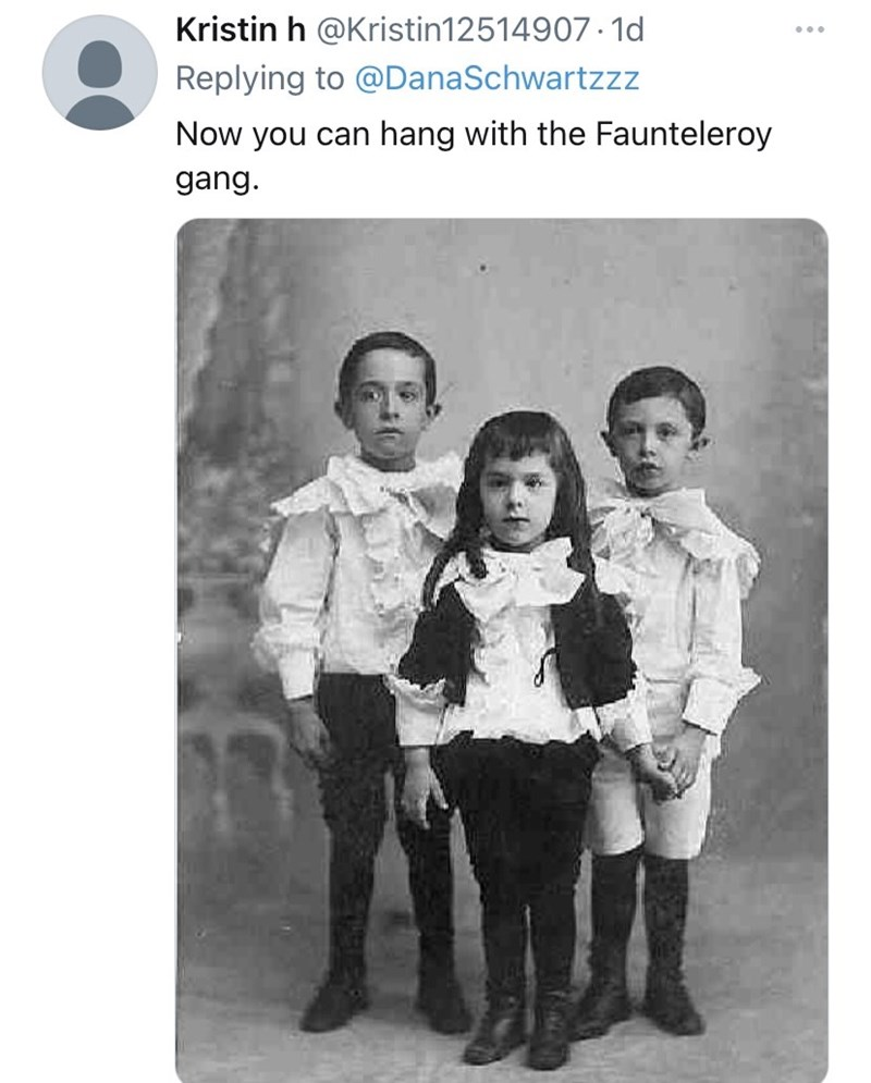 Hair - Kristin h @Kristin12514907 · 1d ... Replying to @DanaSchwartzzz Now you can hang with the Faunteleroy gang.