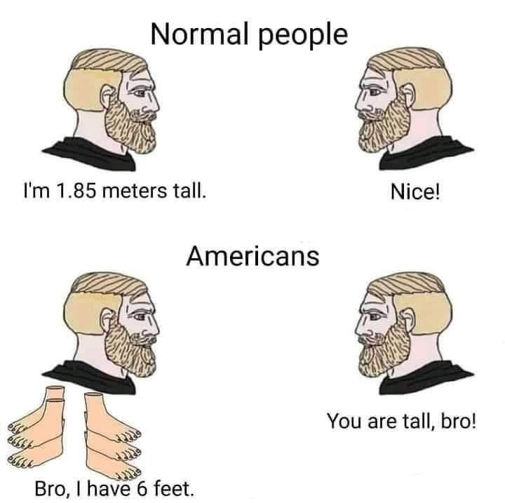 Hair - Normal people I'm 1.85 meters tall. Nice! Americans You are tall, bro! Bro, I have 6 feet.