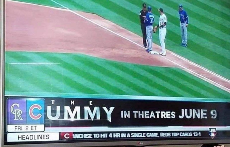 World - H E RCUMMY IN THEATRES JUNE 9 FRI. 2 ET LIVE C NCHISE TO HIT 4 HR NA SINGLE GAME, REDS TOP CARDS 13-1 HEADLINES to