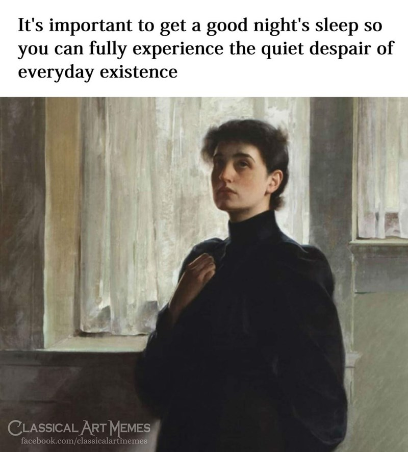 Hairstyle - It's important to get a good night's sleep so you can fully experience the quiet despair of everyday existence CLASSICAL ART MEMES facebook.com/classicalartmemes