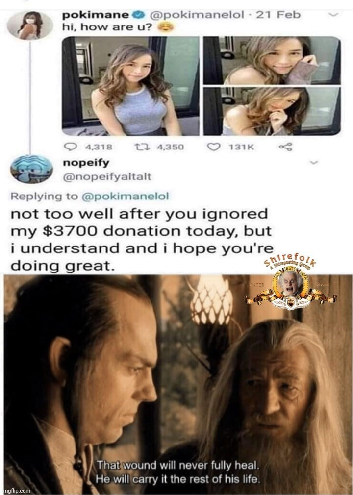 Hair - pokimane hi, how are u? @pokimanelol · 21 Feb O 4,318 t7 4,350 O 131K nopeify @nopeifyaltalt Replying to @pokimanelol not too well after you ignored my $3700 donation today, but i understand and i hope you're doing great. SRirefolt That wound will never fully heal. He will carry it the rest of his life. mgflip.com