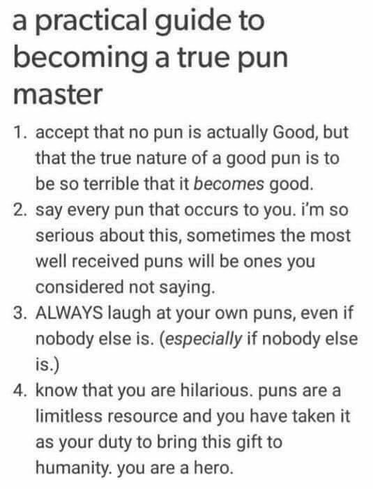 Font - a practical guide to becoming a true pun master 1. accept that no pun is actually Good, but that the true nature of a good pun is to be so terrible that it becomes good. 2. say every pun that occurs to you. i'm so serious about this, sometimes the most well received puns will be ones you considered not saying. 3. ALWAYS laugh at your own puns, even if nobody else is. (especially if nobody else is.) 4. know that you are hilarious. puns are a limitless resource and you have taken it as your
