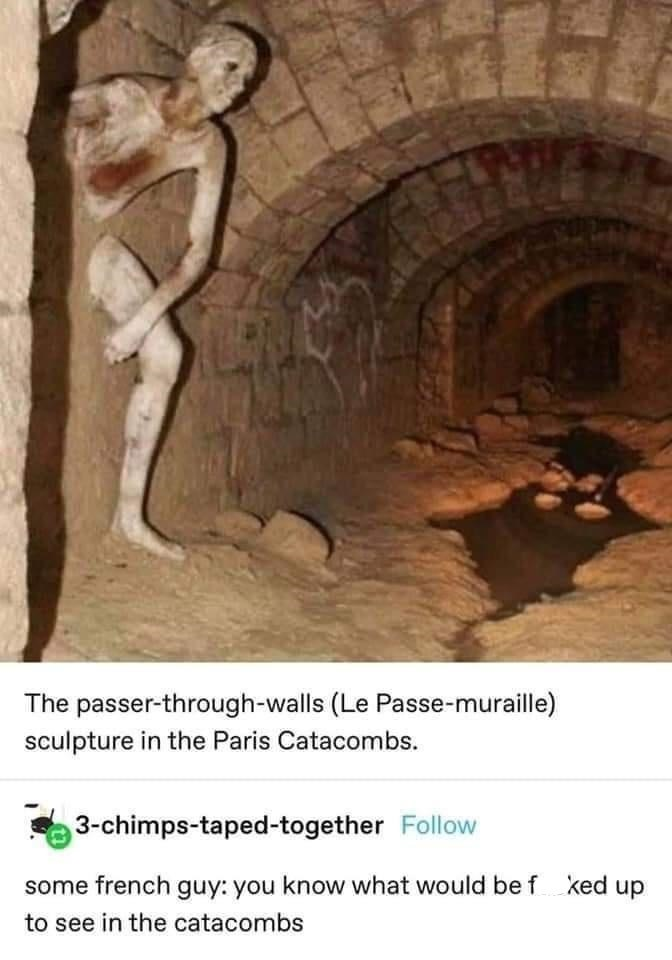 Organism - The passer-through-walls (Le Passe-muraille) sculpture in the Paris Catacombs. 3-chimps-taped-together Follow some french guy: you know what would be f ked up to see in the catacombs