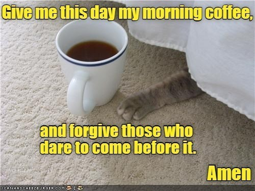 Tableware - Give me this day my morning coffee, and forgive those who dare to come before it. Amen ICANHASCHEEZBURGER.COM