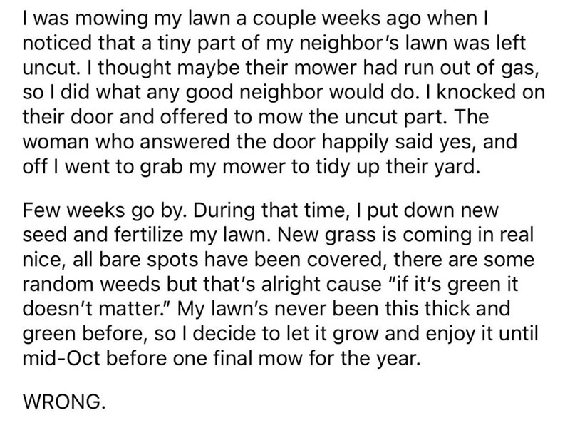 Good Deed Goes Terribly Wrong When Neighbor Repays the Favor