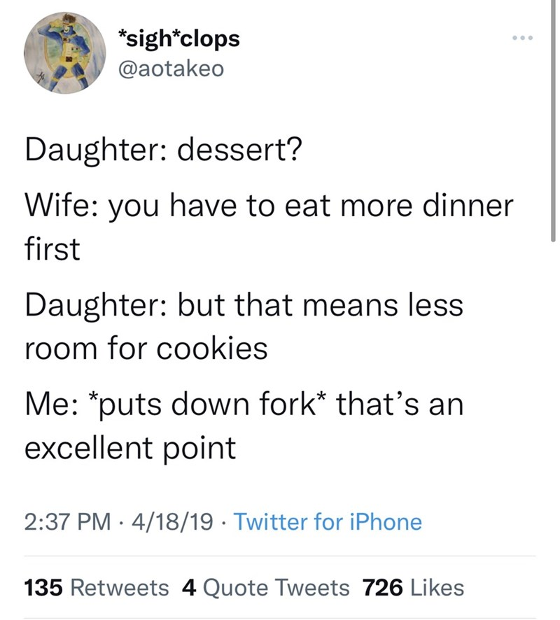 Font - *sigh*clops @aotakeo Daughter: dessert? Wife: you have to eat more dinner first Daughter: but that means less room for cookies Me: *puts down fork* that's an excellent point 2:37 PM · 4/18/19 · Twitter for iPhone 135 Retweets 4 Quote Tweets 726 Likes