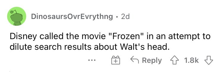 """Handwriting - DinosaursovrEvrythng · 2d Disney called the movie """"Frozen"""" in an attempt to dilute search results about Walt's head. 6 Reply 1 1.8k +"""