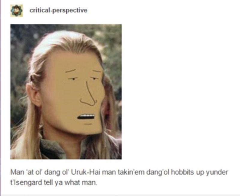 Forehead - critical-perspective Man 'at ol' dang ol Uruk-Hai man takin'em dang'ol hobbits up yunder t'Isengard tell ya what man.