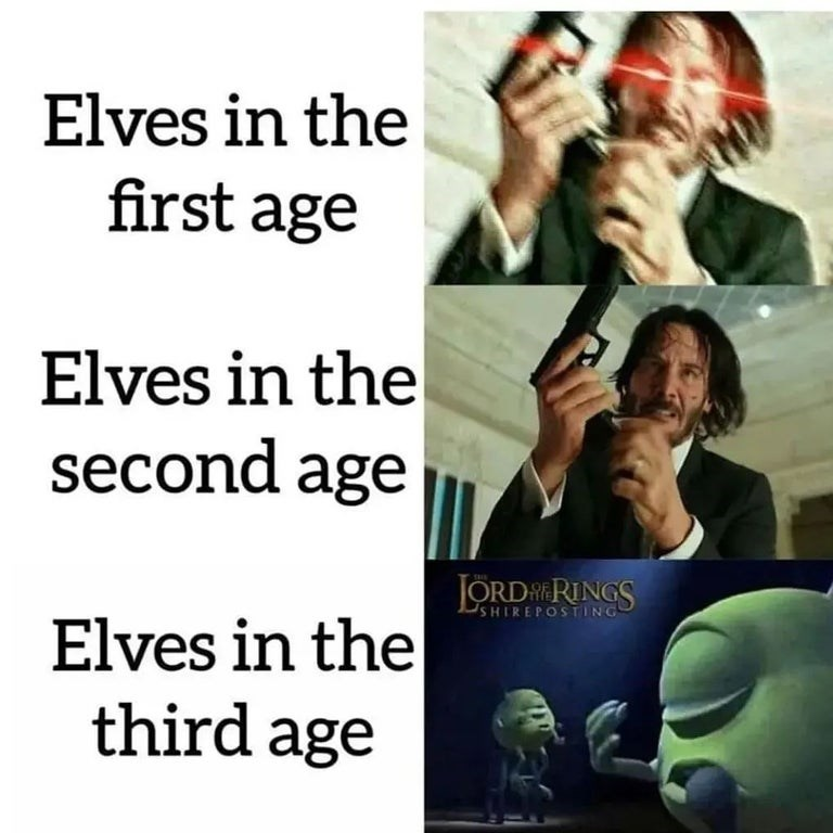 Product - Elves in the first age Elves in the second age SHIREPOSTING Elves in the third age