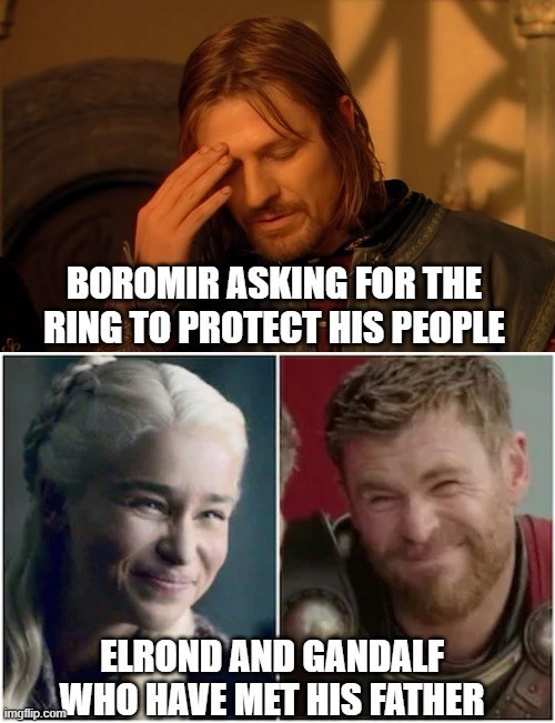 Forehead - BOROMIR ASKING FOR THE RING TO PROTECT HIS PEOPLE ELROND AND GANDALF WHO HAVE MET HIS FATHER