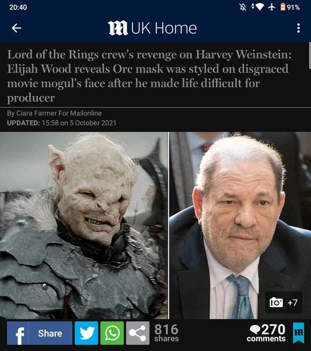 Hair - 20:40 好 +@91% MUK Home Lord of the Rings crew's revenge on Harvey Weinstein: Elijah Wood reveals Orc mask was styled on disgraced movie mogul's face after he made life difficult for producer By Ciara Farmer For Mailonline UPDATED: 15:58 on 5 October 2021 10 +7 f Share 816 shares 270 m comments