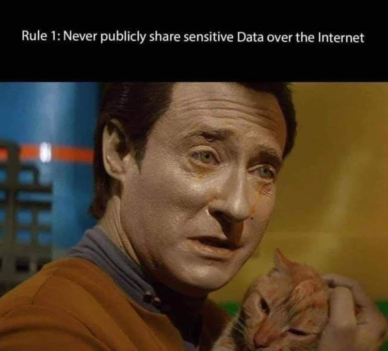 Forehead - Rule 1: Never publicly share sensitive Data over the Internet