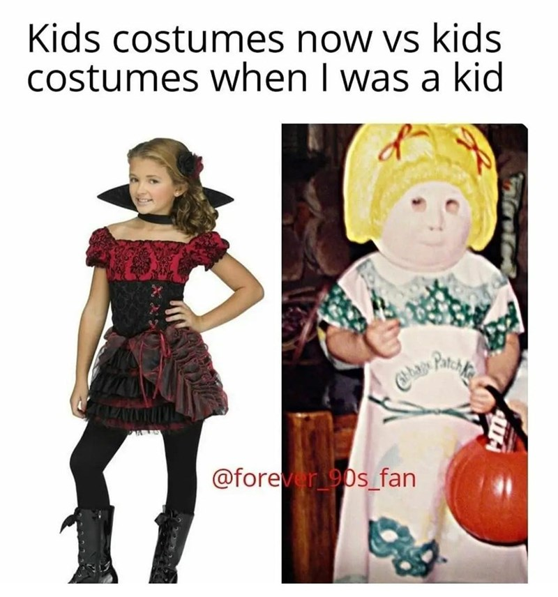 Clothing - Kids costumes now vs kids costumes when I was a kid Patch @forever90s_fan