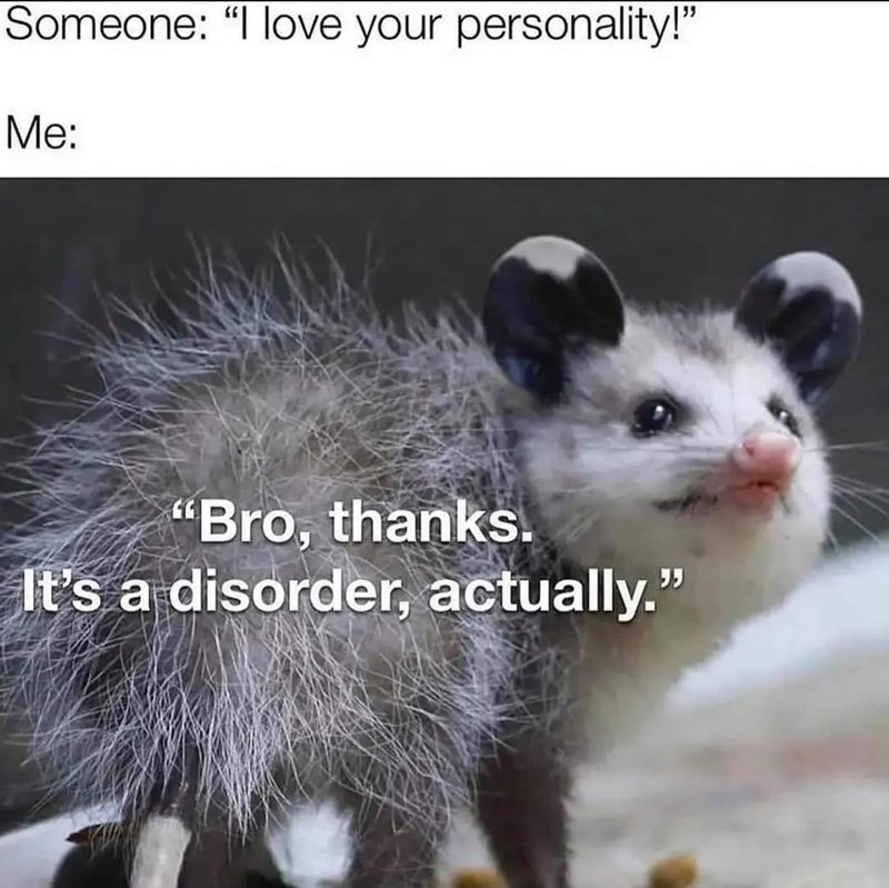 """Photograph - Someone: """"I love your personality!"""" Me: """"Bro, thanks. It's a disorder, actually."""""""