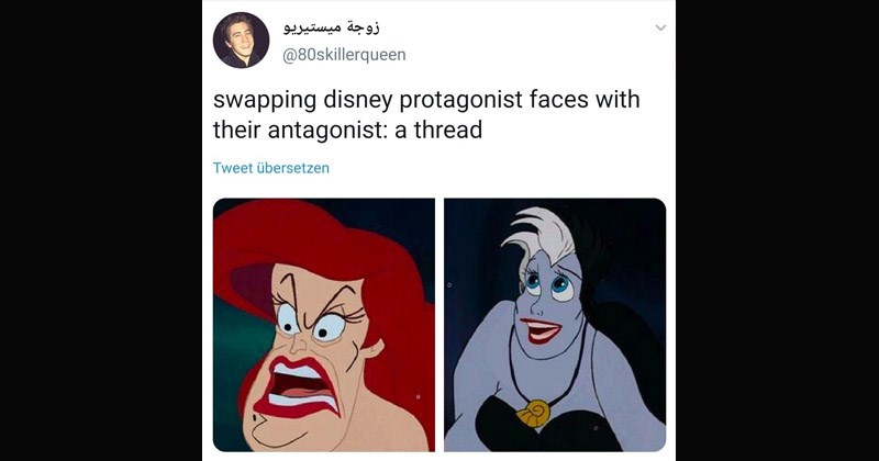 Funny tweets with images of face-swapped Disney characters