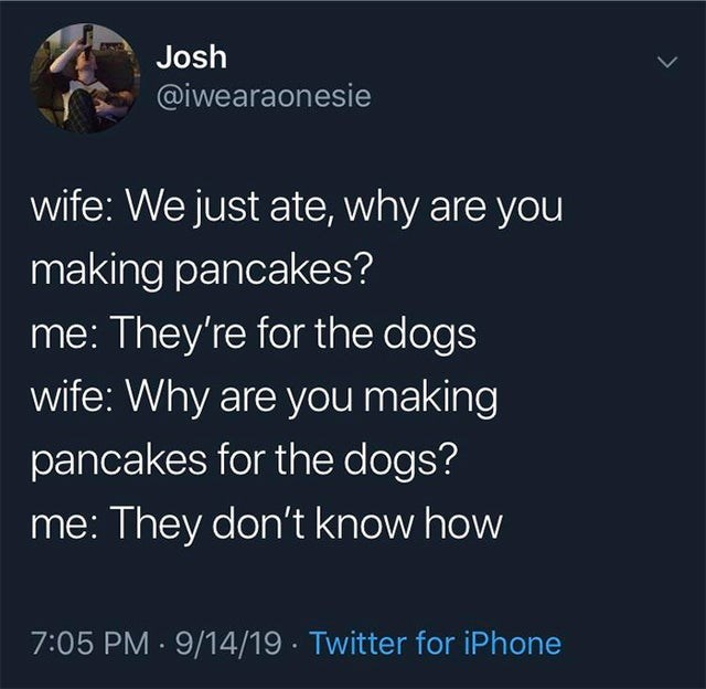 Organism - Josh @iwearaonesie wife: We just ate, why are you making pancakes? me: They're for the dogs wife: Why are you making pancakes for the dogs? me: They don't know how 7:05 PM · 9/14/19 - Twitter for iPhone