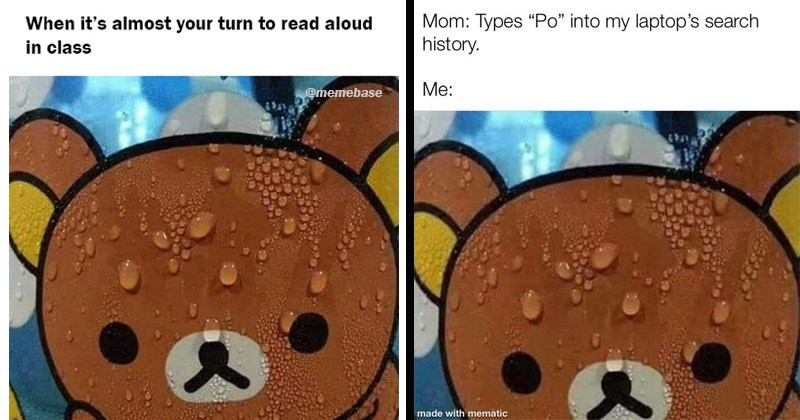 "Funny dank memes entitled ""Sweating Rilakkuma"""