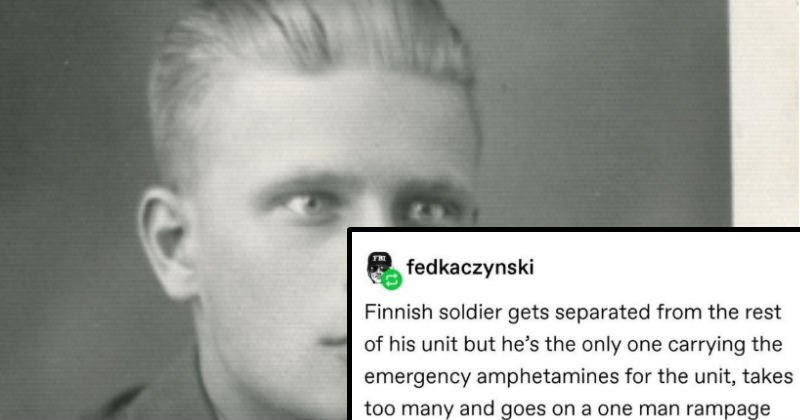Tumblr history of Finnish soldier who took too many emergency amphetamines and went on a rampage.