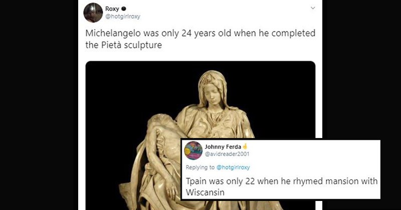 Funny parody tweets about how Michelangelo was only 24 years when he constructed the Pieta sculpture