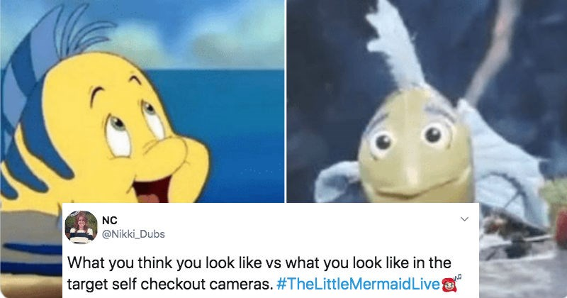A collection of Twitter reactions to The Little Mermaid Live! Flounder puppet.