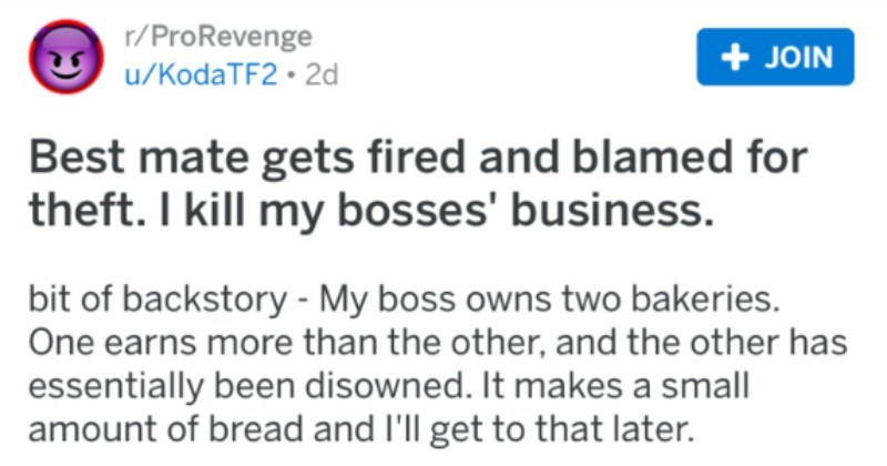 Guy's friend gets fired and blamed for theft, so business ends up getting shut down.
