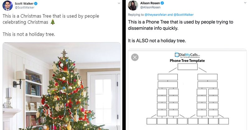 Funny mocking tweets about Scott Walker's 'holiday tree' tweet