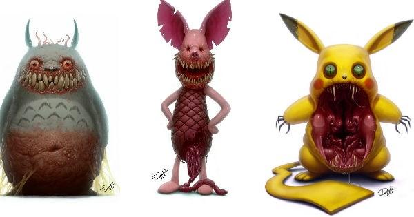 scary totoro Fan Art nightmare fuel pikachu - 969221