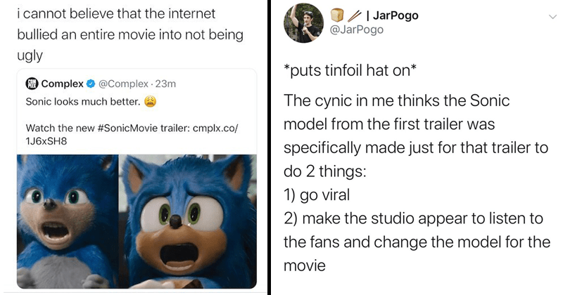 Twitter reactions to new sonic the hedgehog trailer, paramount pictures, sonic redesign