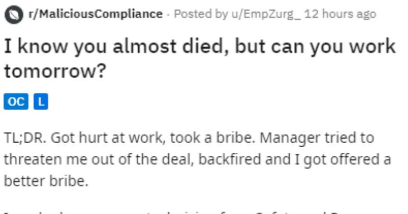 Guy gets injured, his boss tries to make him work.