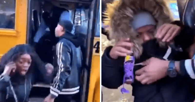 Crazy video of school bus driver throwing kid off of bus, turns out it is a midget / little person, a grown man.