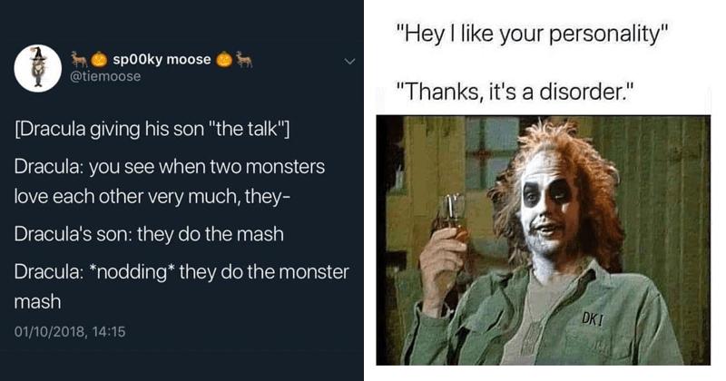 Funny random memes, funny tweets, monster mash, michael keaton, beetlejuice