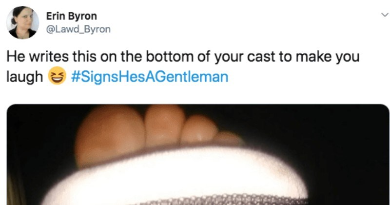 A collection of Twitter responses to the viral hashtag about sign that a man is a gentlemen.