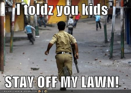 i toldz you kids stay off my lawn cheezburger funny memes