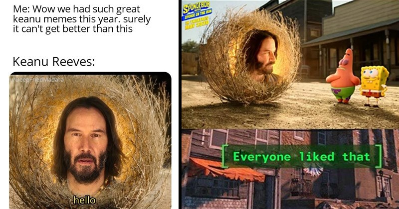 Funny dank memes about Keanu Reeves' cameo in the new Spongebob movie