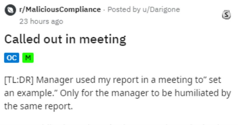 Incompetent manager gets called on his BS and quits.