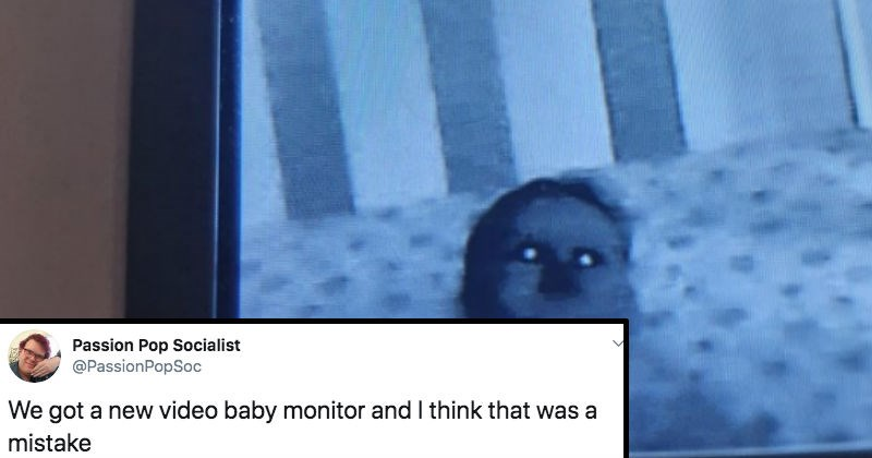 A collection of Twitter users freak out over a creepy possessed baby monitor.