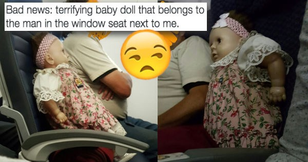 twitter live tweeting list creepy doll Travel airplane - 974085